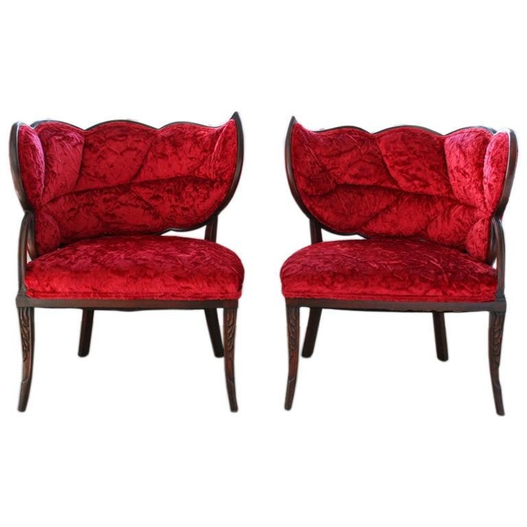 Pair of french art deco mahogany velvet leaf back boudoir for Art deco living room chairs