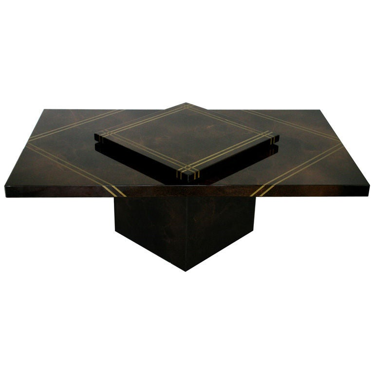 maison lancel high gloss swivel top coffee table at 1stdibs