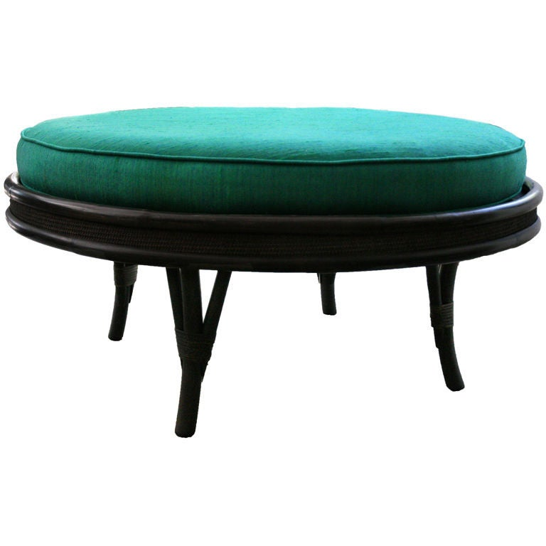 Large 1950 39 S Bamboo Swivel Ottoman Coffee Table At 1stdibs