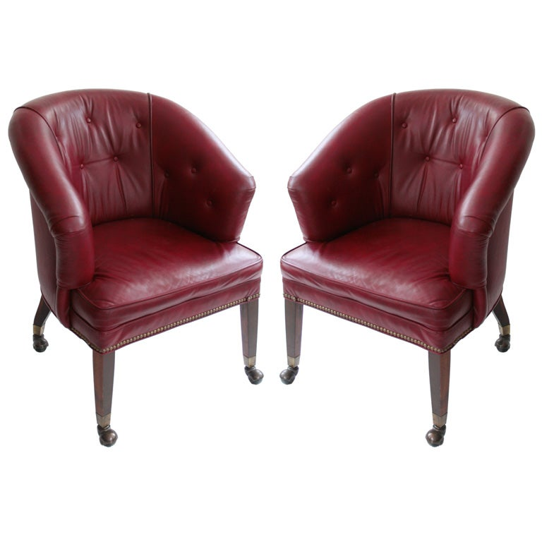 Pair of Vintage Tufted Leather fice Chairs at 1stdibs