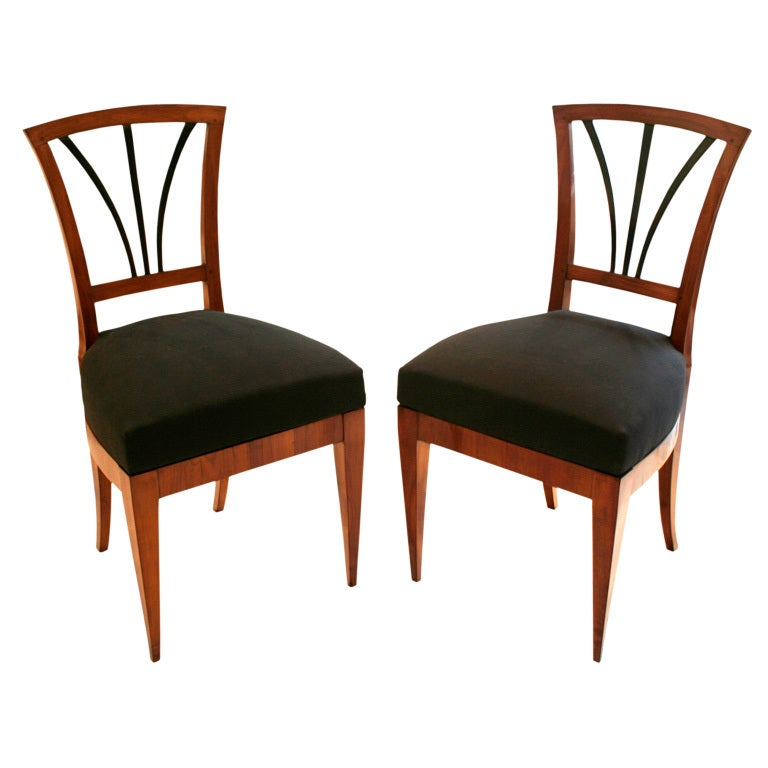Pair Of Biedermeier Side Chairs At 1stdibs