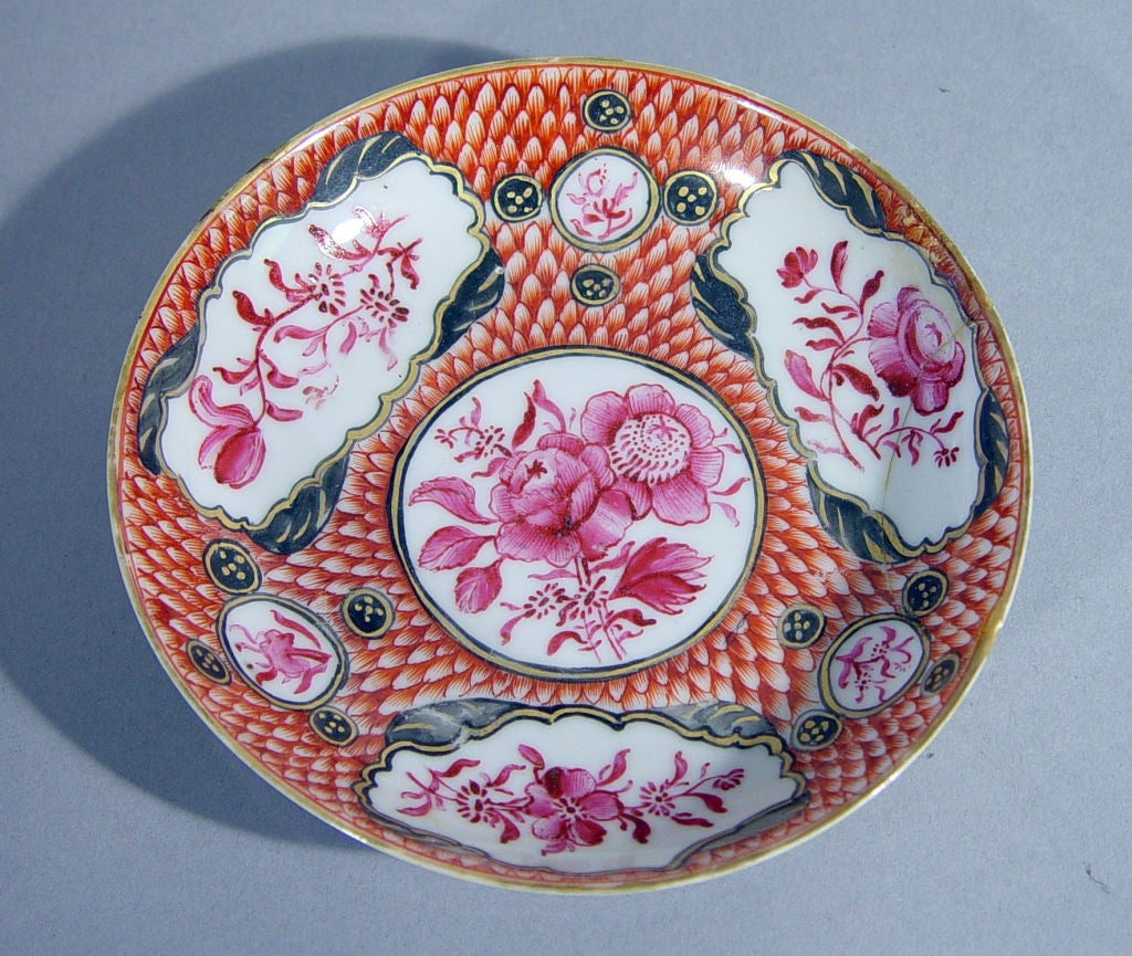 18th Century Chinese Export Coral and Puce Porcelain Tea Service In Good Condition For Sale In Downingtown, PA