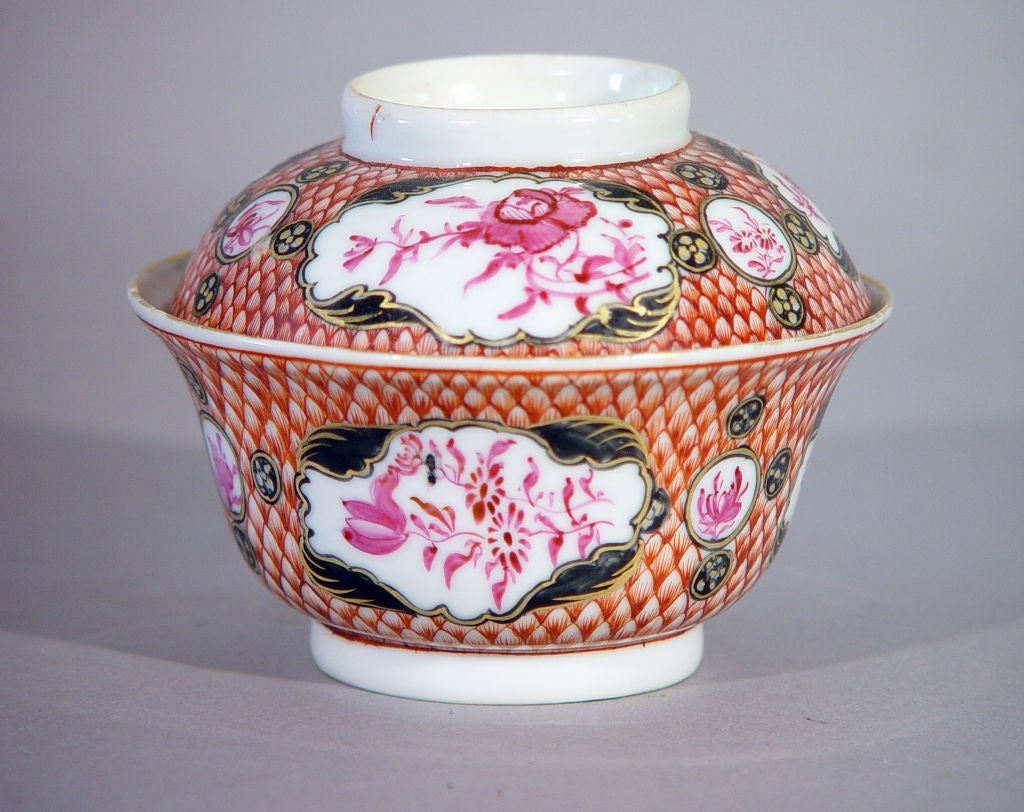 18th Century Chinese Export Coral and Puce Porcelain Tea Service For Sale 2