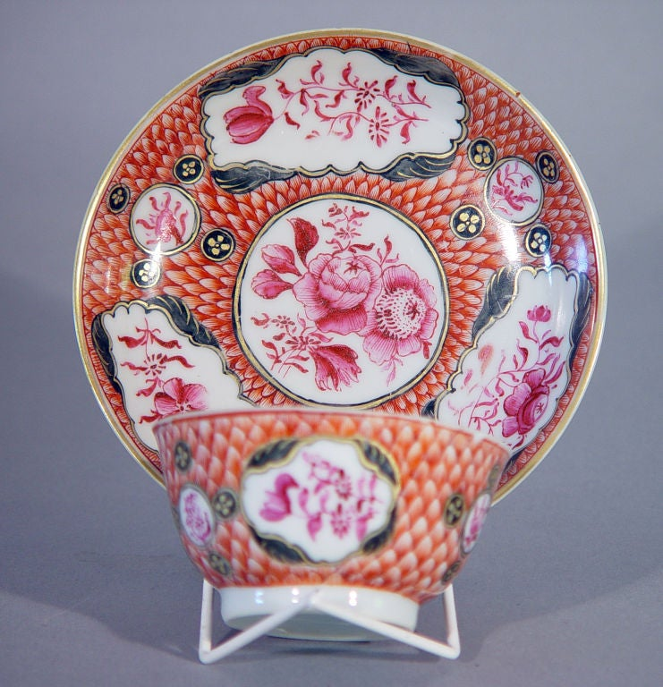 18th Century Chinese Export Coral and Puce Porcelain Tea Service For Sale 3