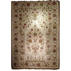 Ottoman Large Silkwork Textile Botanical Embroidery Hanging