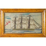 A Small English Sailor's Woolwork Picture of a Ship