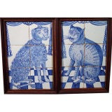 A Pair of Dutch Delft Tile Pictures of A Dog & Cat