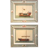 A Pair of Chinese Watercolour Pith Pictures of Sampans.