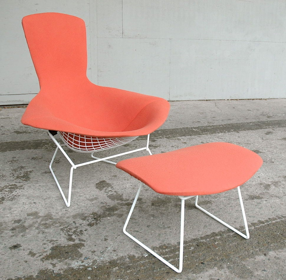 Vintage Bird Chair and Ottoman by Harry Bertoia image 3