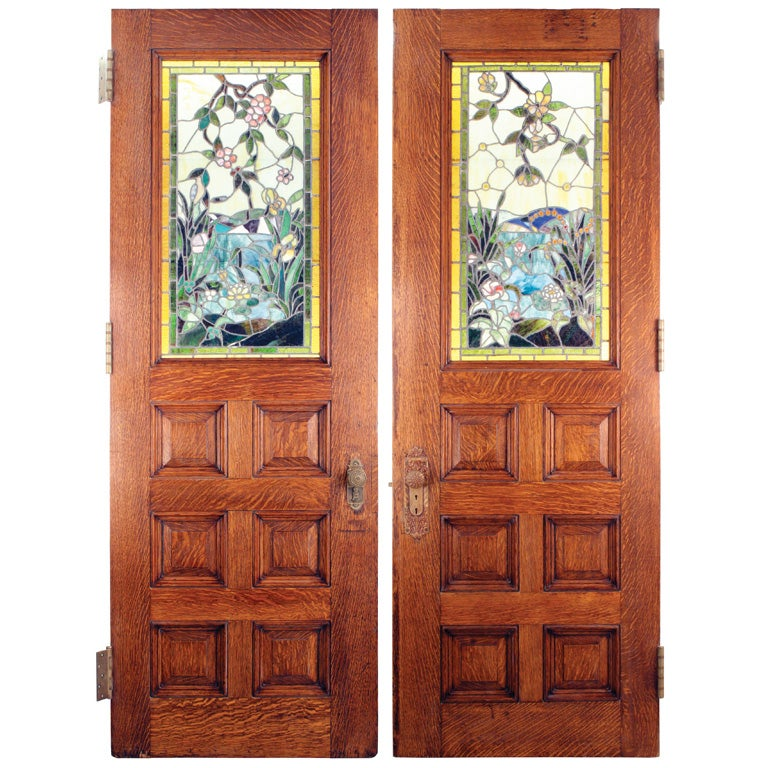 Stained glass double doors at 1stdibs for Double doors with glass