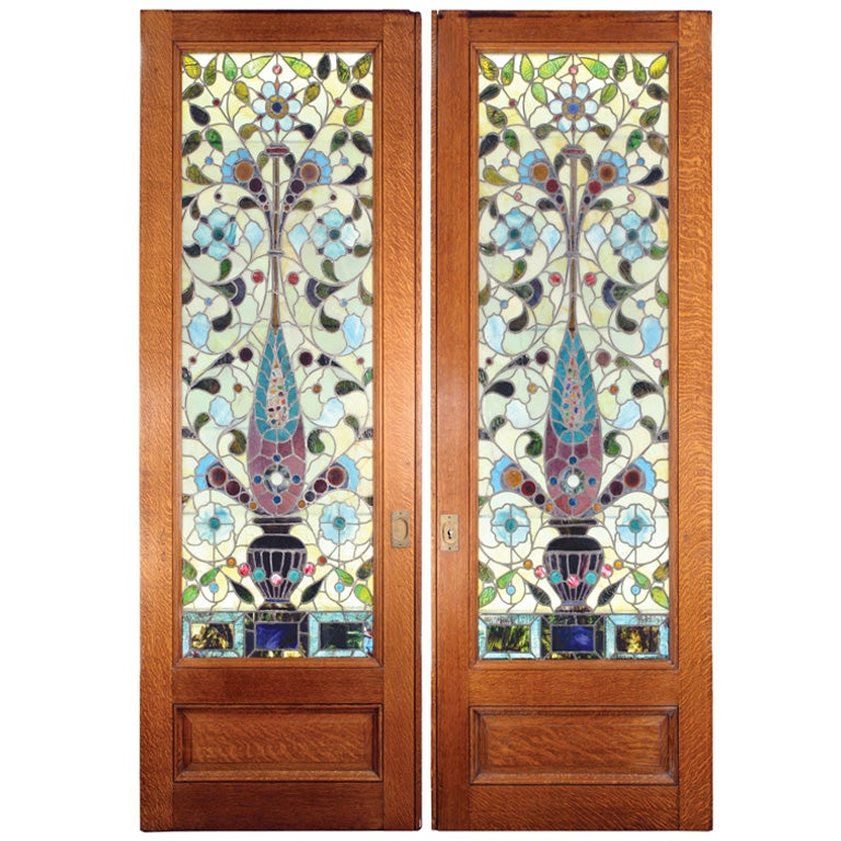 Stained Glass Pocket Doors At 1stdibs
