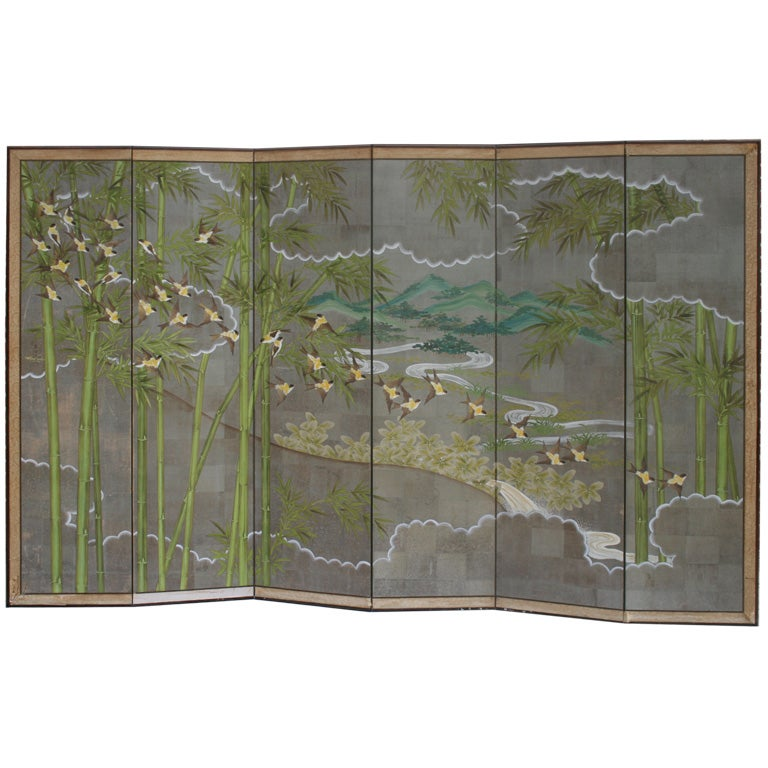 Large hand painted room divider folding screen robert for Painted screens room dividers