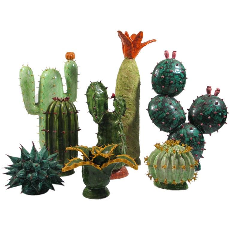 A Set Of Eight Ceramic Cactus At 1stdibs