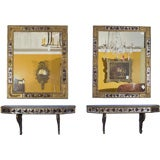 Pair of Eglomise Mirrors w Matching Consoles - Stamped Jansen