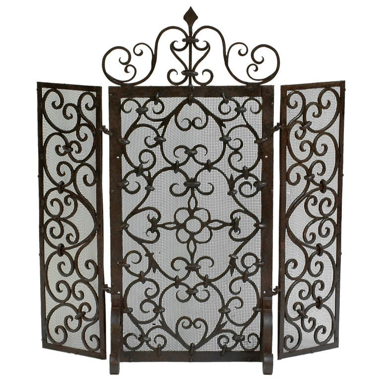 Forged Iron Fireplace Screen : Antique hand forged iron three panel fireplace screen at