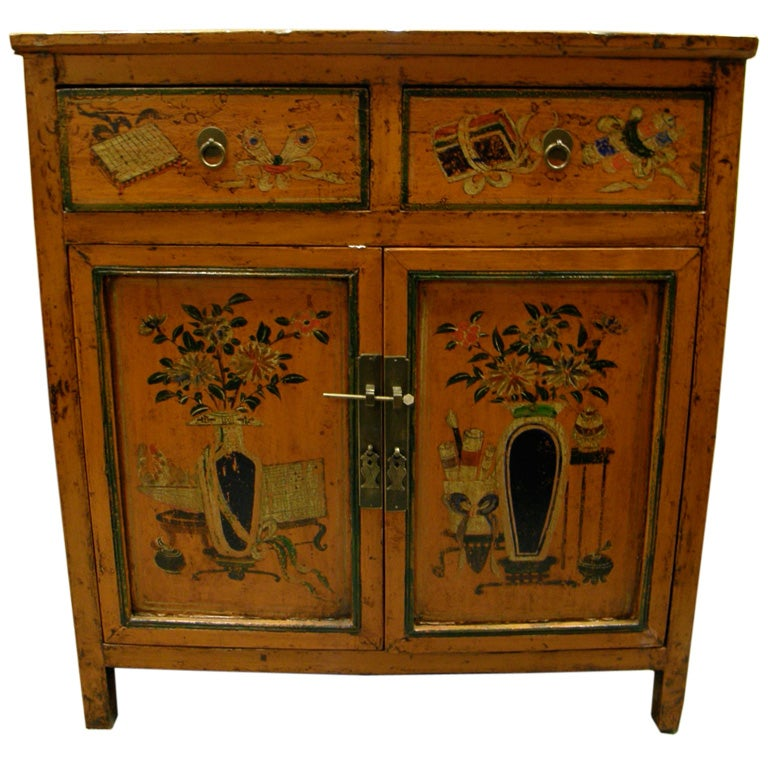Antique Chinese Country Painted Hall Console Bedside