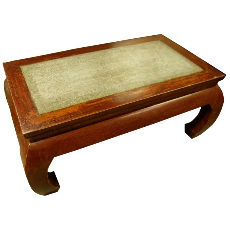 Antique Chinese Kang Coffee Table Stone Inset Chow Leg At 1stdibs