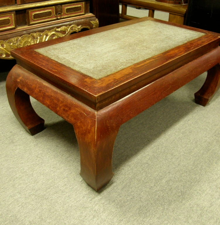 Antique Chinese Kang Coffee Table Stone Inset Chow Leg 2