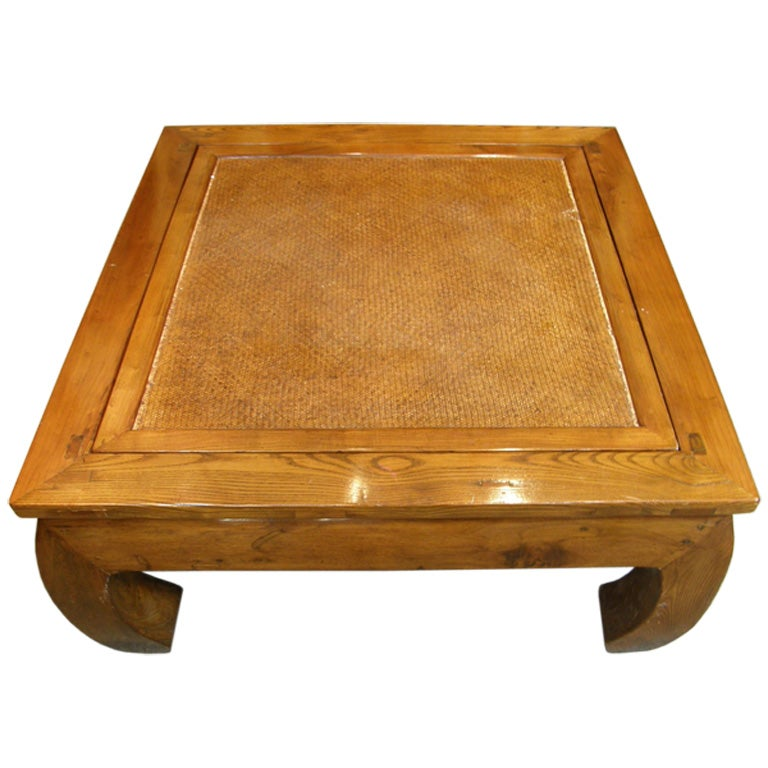 Antique Chinese Chow Leg Bamboo Top Kang Coffee Table For Sale