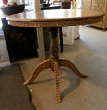 India antique Anglo English colonial inlaid teak dinning table image 3