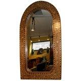 India English colonial teak bone and ebony inlaid mirror