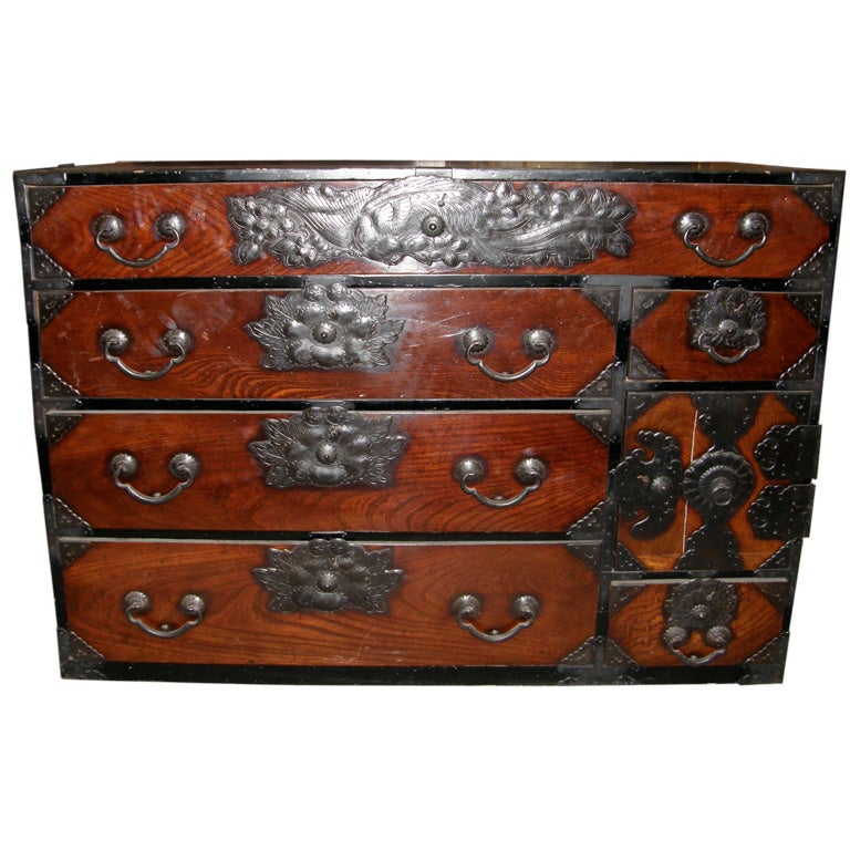 Antique Japanese Meiji Period Tansu Chest Of Drawers Dresser 1