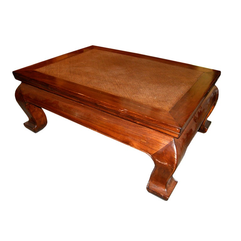 19th century chinese chow leg coffee table with woven mat for Oriental furniture for sale