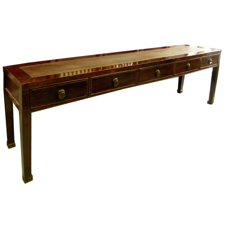 Antique chinese console sofa table with drawers at stdibs
