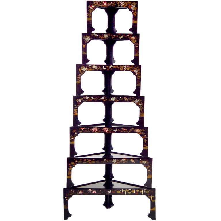 A Set Of 7 Stacking Corner Tables Asian 19th Century At