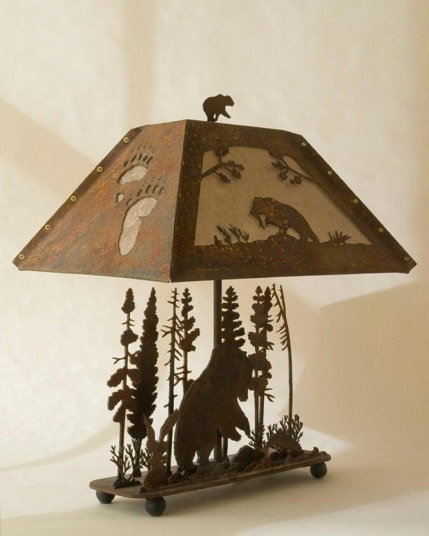A black forest style arts and crafts metal lamp at 1stdibs for Metal arts and crafts