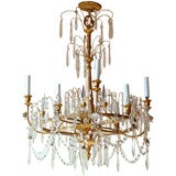 Neoclassical or Liberty Style Gilt Metal Eight-Arm Chandelier