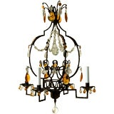 Painted and Partial-Gilt Four-Arm Iron Chandelier with Glass Drops