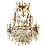 White Metal, Amethyst and Clear Crystal Six-Arm Chandelier