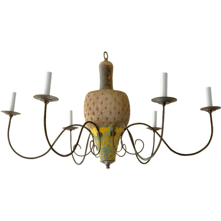 Chandelier with a natural and painted wood antique bowling for Natural wood chandelier