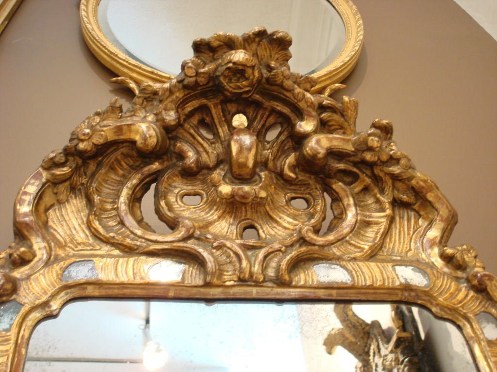 Exquisite Period Mid-18th Century Pier Mirror. Finely carved foliate with inset mirrored discs surrounding frame.