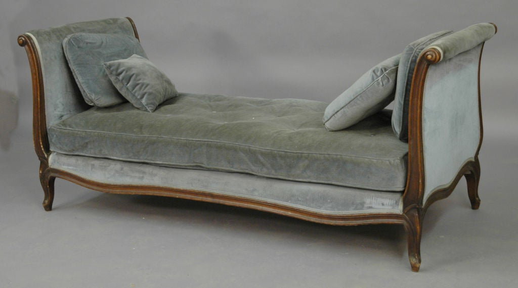 French Fruitwood Upholstered Day Bed, c. 1890
