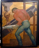 The Riveter:  1939 Oil Painting by WPA Muralist