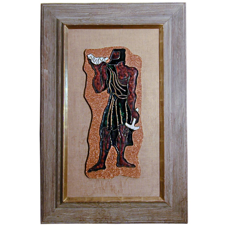 """Greek in Toga with Hammer & Shell,"" Enameled Panel by Mergier"