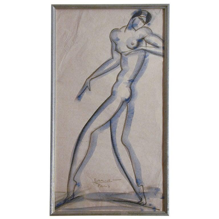 """Art Deco """"Female Nude"""" by Lovet-Lorski"""