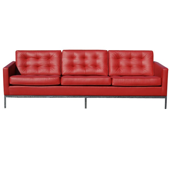 florence knoll red leather sofa