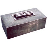 Sterling silver and Shagreen Cigar Box.