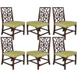 Six mahogany fret back chairs.