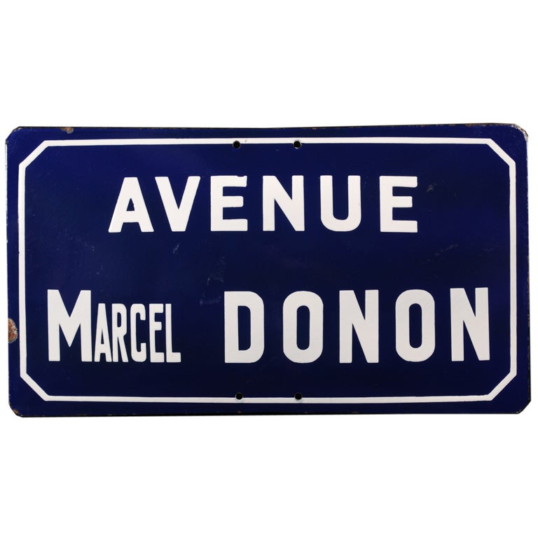 Vintage French Street Sign Blue And White Porcelain At
