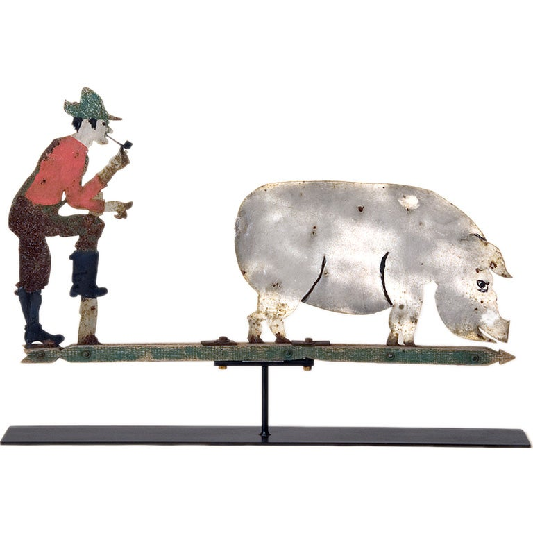 Farmer And Pig Weathervane At 1stdibs