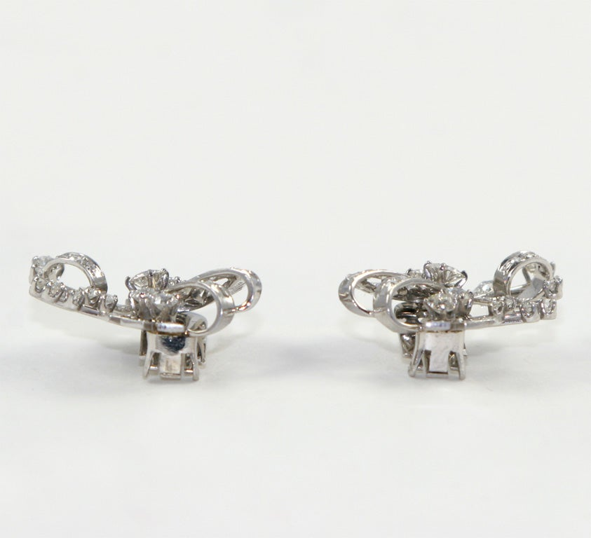 18kt White Gold & Diamond Earings. image 6
