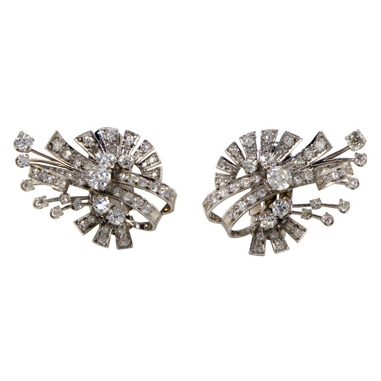 18kt White Gold & Diamond Earings.