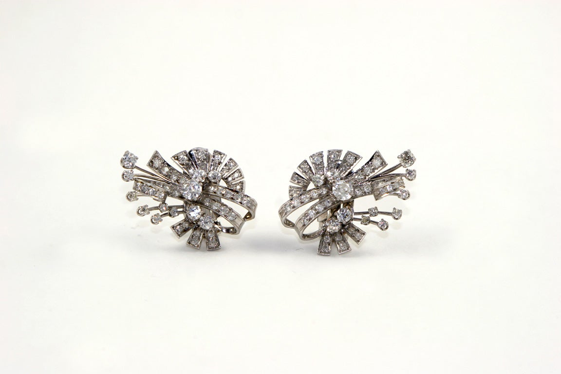 18kt White Gold & Diamond Earings. image 2
