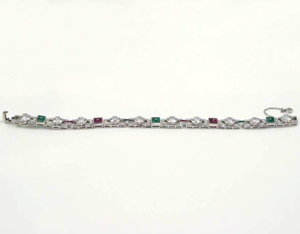 1920's Art Deco Diamond Ruby & Emerald Bracelet For Sale 6
