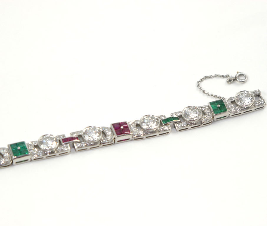 Women's 1920's Art Deco Diamond Ruby & Emerald Bracelet For Sale