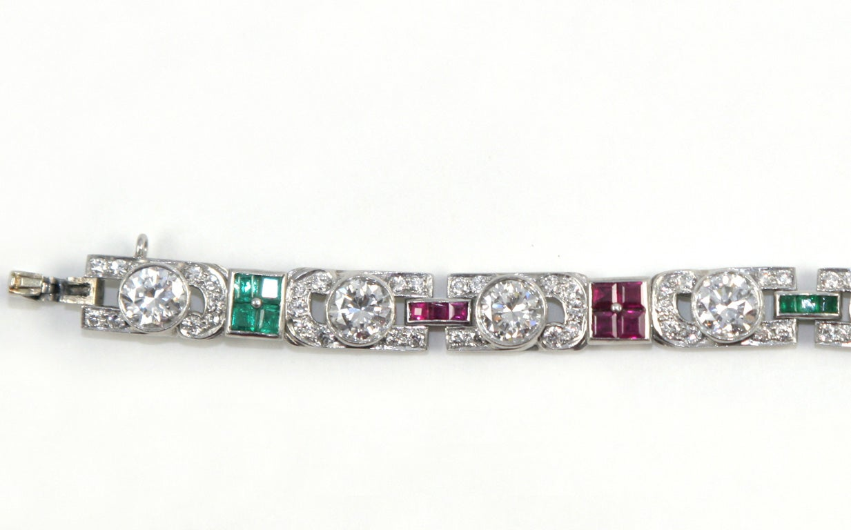1920's Art Deco Diamond Ruby & Emerald Bracelet For Sale 2